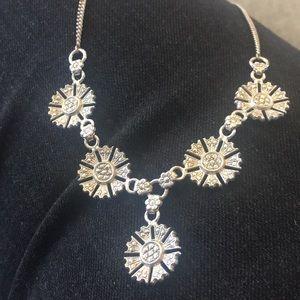 Antique sterling marcasite flowers bib necklace.